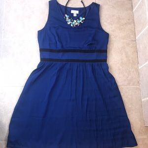 Loft royal blue fit and flare dress. Size 10